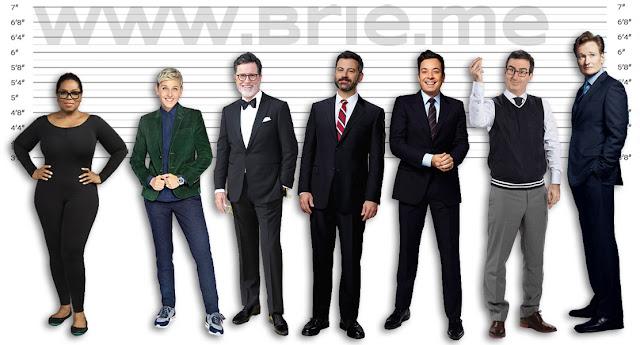 Oprah Winfrey, Ellen DeGeneres, Stephen Colbert, Jimmy Kimmel, Jimmy Fallon, John Oliver, and big Conan O'Brien height comparison