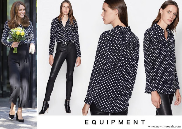 Kate Middleton wore Equipment Slim Signature Polka Dot shirt