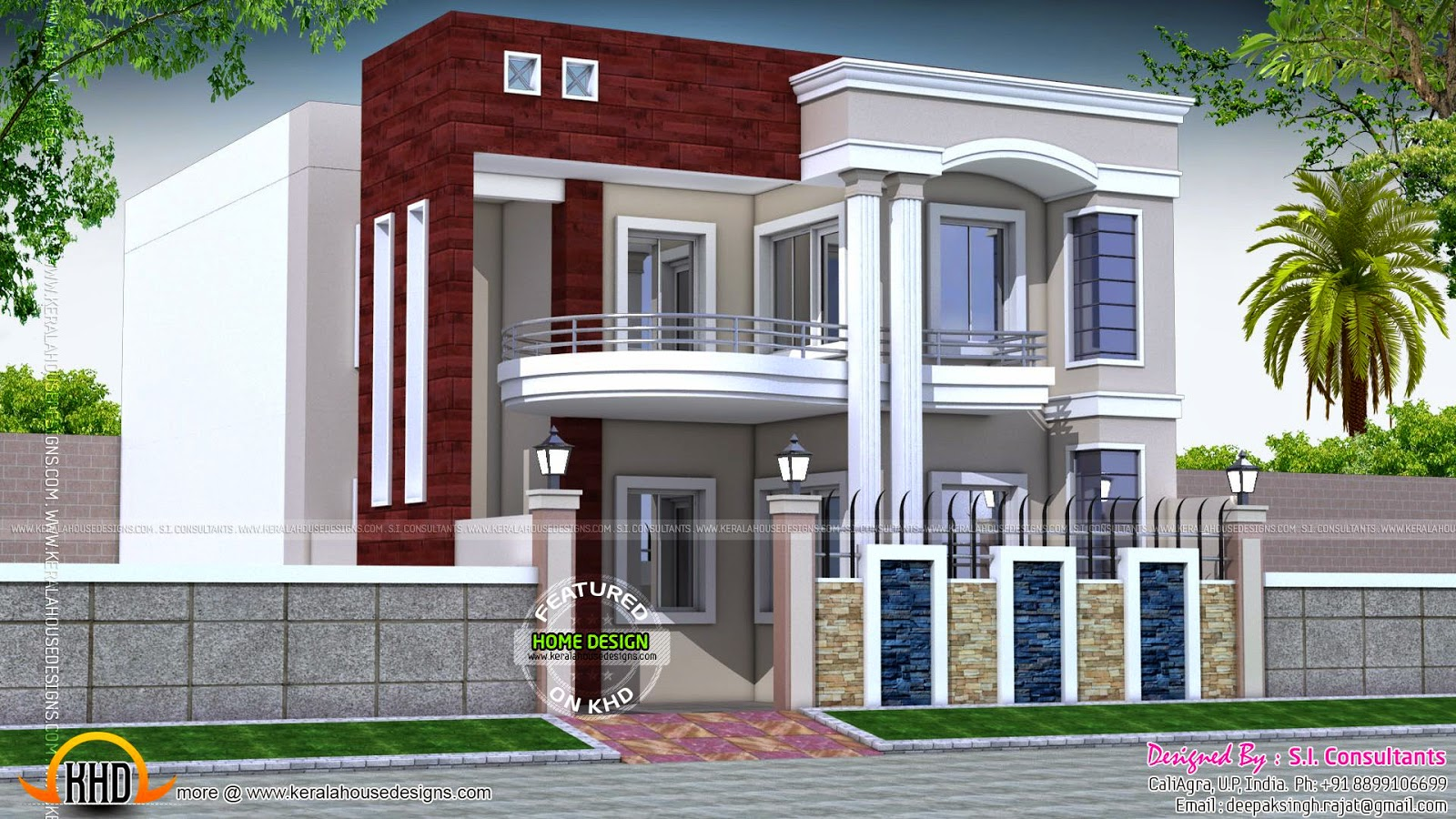 House design in north india kerala home design and floor for Home front design in indian style