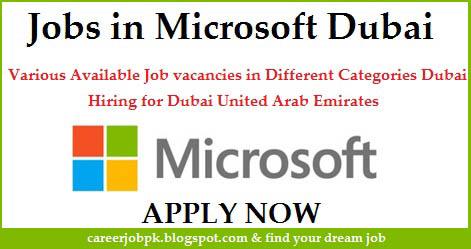 Microsoft Multiple job vacancies Dubai 2016