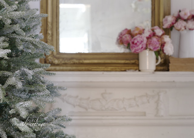 French Country Cottage Antique Mirror with Peonies