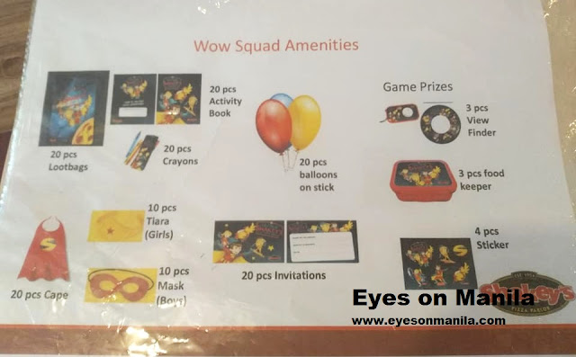 Shakey's Wow Squad Theme Kiddie Package