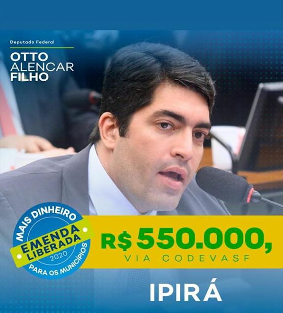 IPIRÁ: Deputado Otto Filho destina R$ 550.000,00 através da CODEVASF para pavimentação com paralelo nos Povoados da Caixa D'água e Conceição
