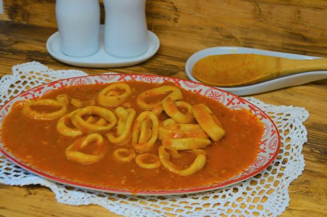 Cocinando a fuego lento, mycook touch amasar, calamares en salsa, mycook touch chile, mycook touch recetas, mycook touch taurus recetas, Mycook Touch, Mycook Touch Taurus, calamares en salsa picante, mycook touch black edition,