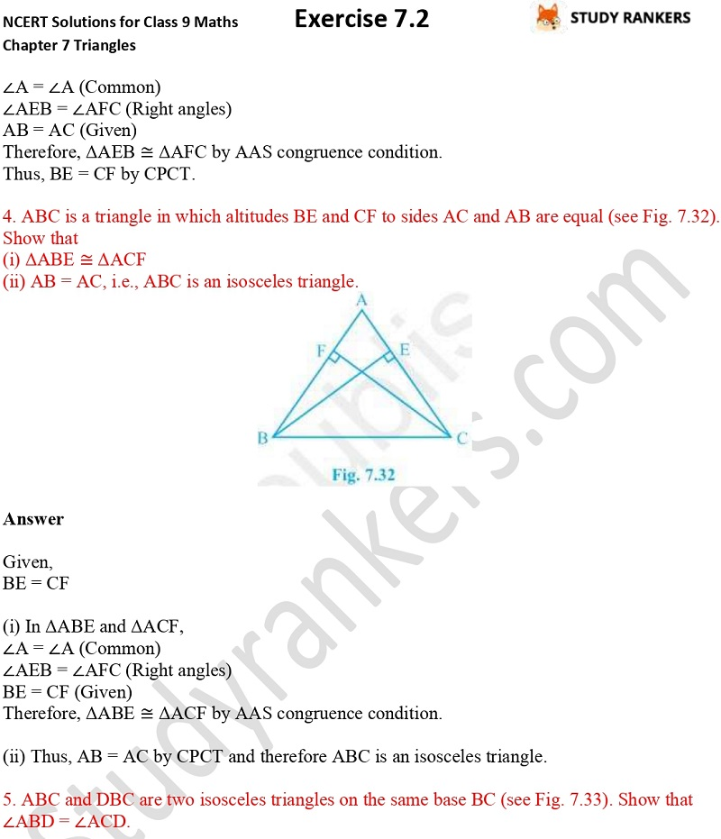 NCERT Solutions for Class 9 Maths Chapter 7 Triangles 7.2 Part 4