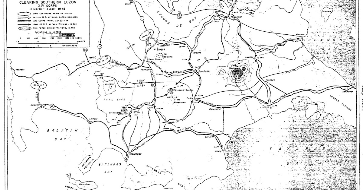 Map of World War II US Troops' Movements in Batangas in