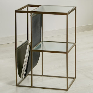 Mesa cuadrada con revistero auxiliar bronce