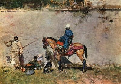 Postal de Museo del Prado, Escenas morunas en Tánger, Fortuny. Editorial Escudo de Oro