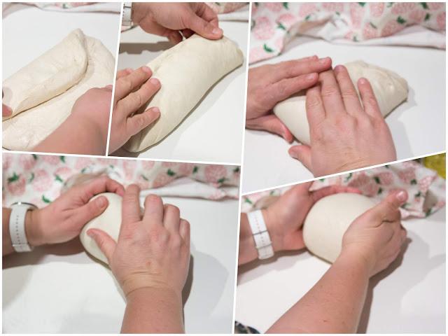 leivän muotoilu taittamalla ja rullaamalla