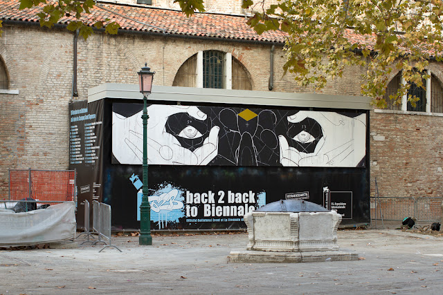 Street Artist Basik In Venice For Back 2 back to Biennale Street Art Festival. 2