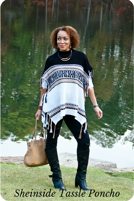 Shein Turtleneck Color-block Tassel Poncho - Erica Bunker DIY Style!