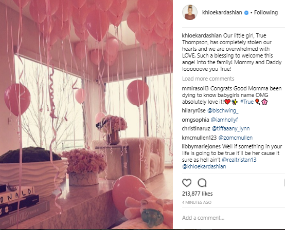 Keeping up with the Kardashians star, Khloe Kardashian and her basketballer boyfriend, Tristan Thompson who welcomed their first child - a girl, took to Instagram to reveal their seed's name - TRUE THOMPSON!
