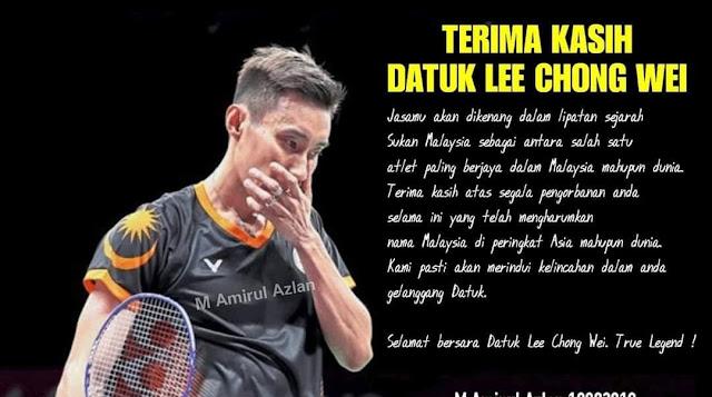 Dato Lee Chong Wei bersara dari dunia badminton