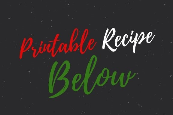 This is a label that says printable recipe below in red green white and black colors