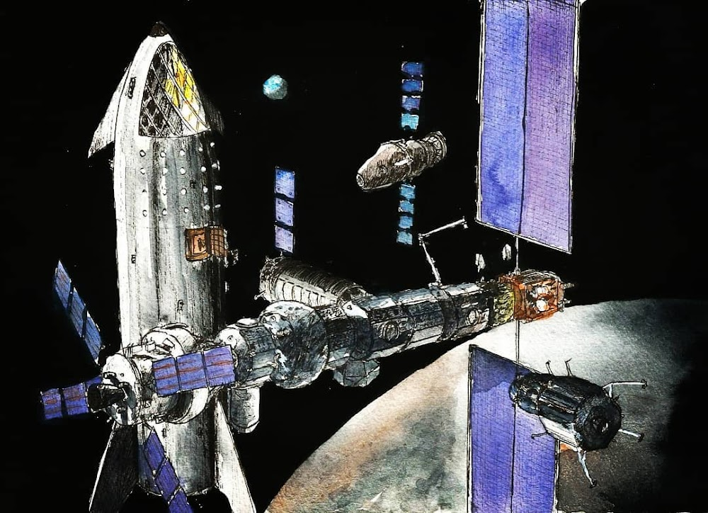 SpaceX Starship visiting Lunar Orbital Platform-Gateway by Colin Doublier