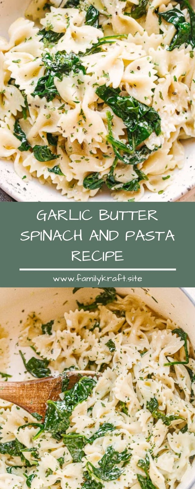 GARLIC BUTTER SPINACH AND PASTA RECIPE