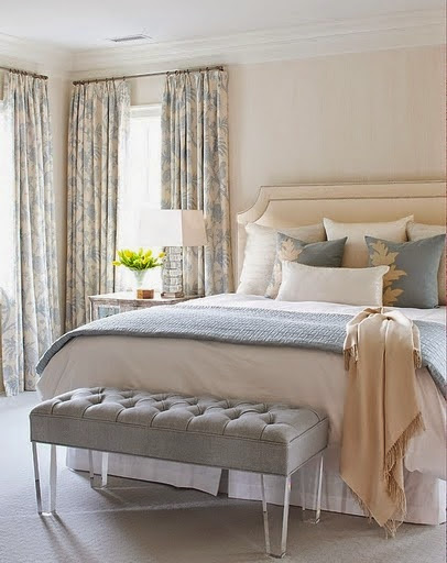 Lovely serene bedroom .Home decor and designs with style