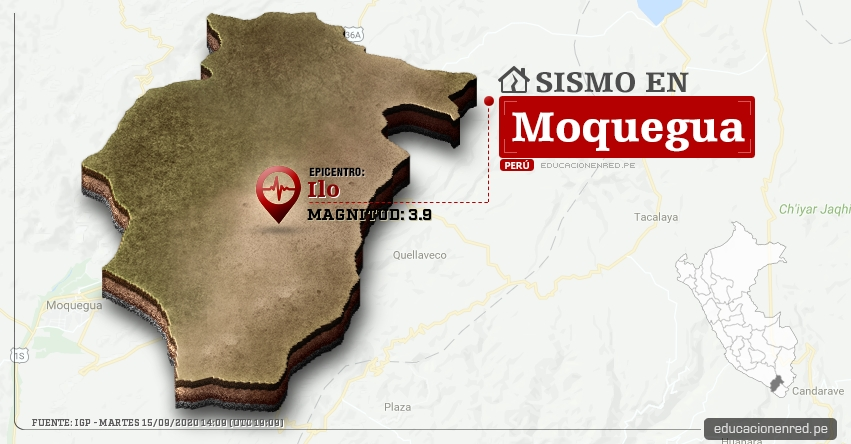 Temblor en Moquegua de Magnitud 3.9 (Hoy Martes 15 Septiembre 2020) Sismo - Epicentro - Ilo - IGP - www.igp.gob.pe