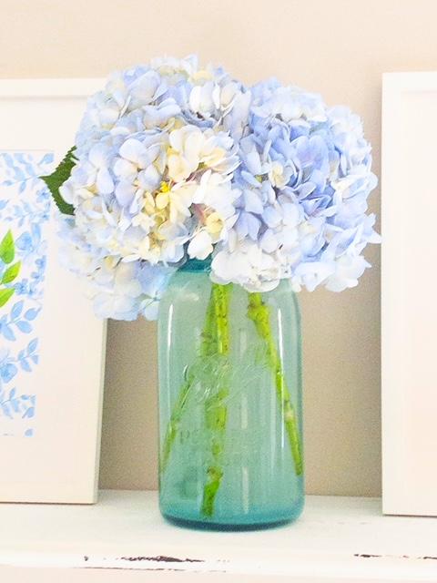 vintage blue ball mason glass vase jar blue white flowers