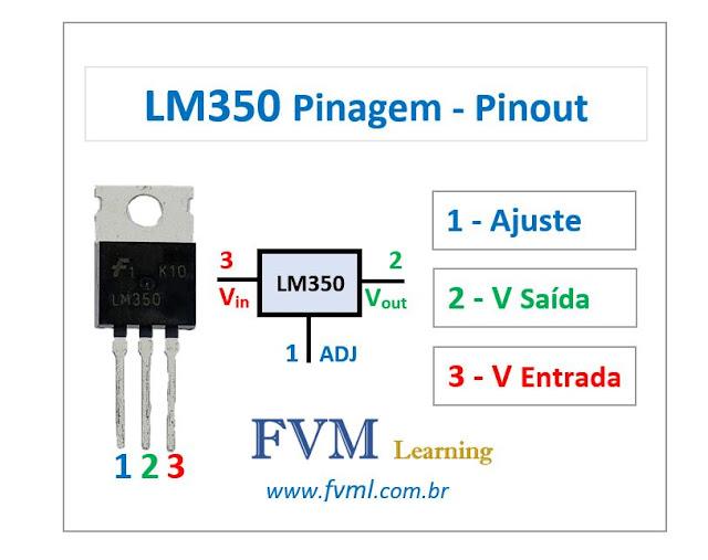 Pinagem - Pinout - Regulador de tensão LM350 - Características