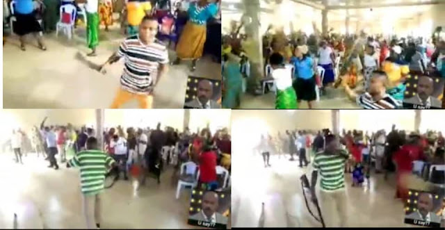 Church Members Praying With Different Weapons To 'Attack Principalities And Powers' (Watch video)