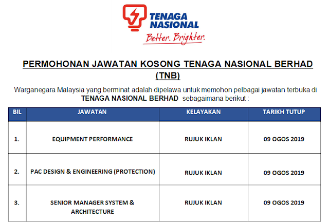 Permohonan Jawatan Kosong Tenaga Nasional Berhad Tnb Sehingga 9 Ogos 2019 Malaysia Kerjaya