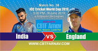 38th Match England vs India World Cup 2019 Today Match Prediction
