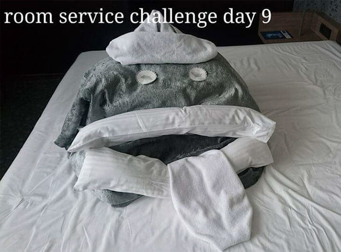 Bored Business Traveler 'Challenges' His Housekeeper In A Funny And Creative Way - The following day she encountered this!
