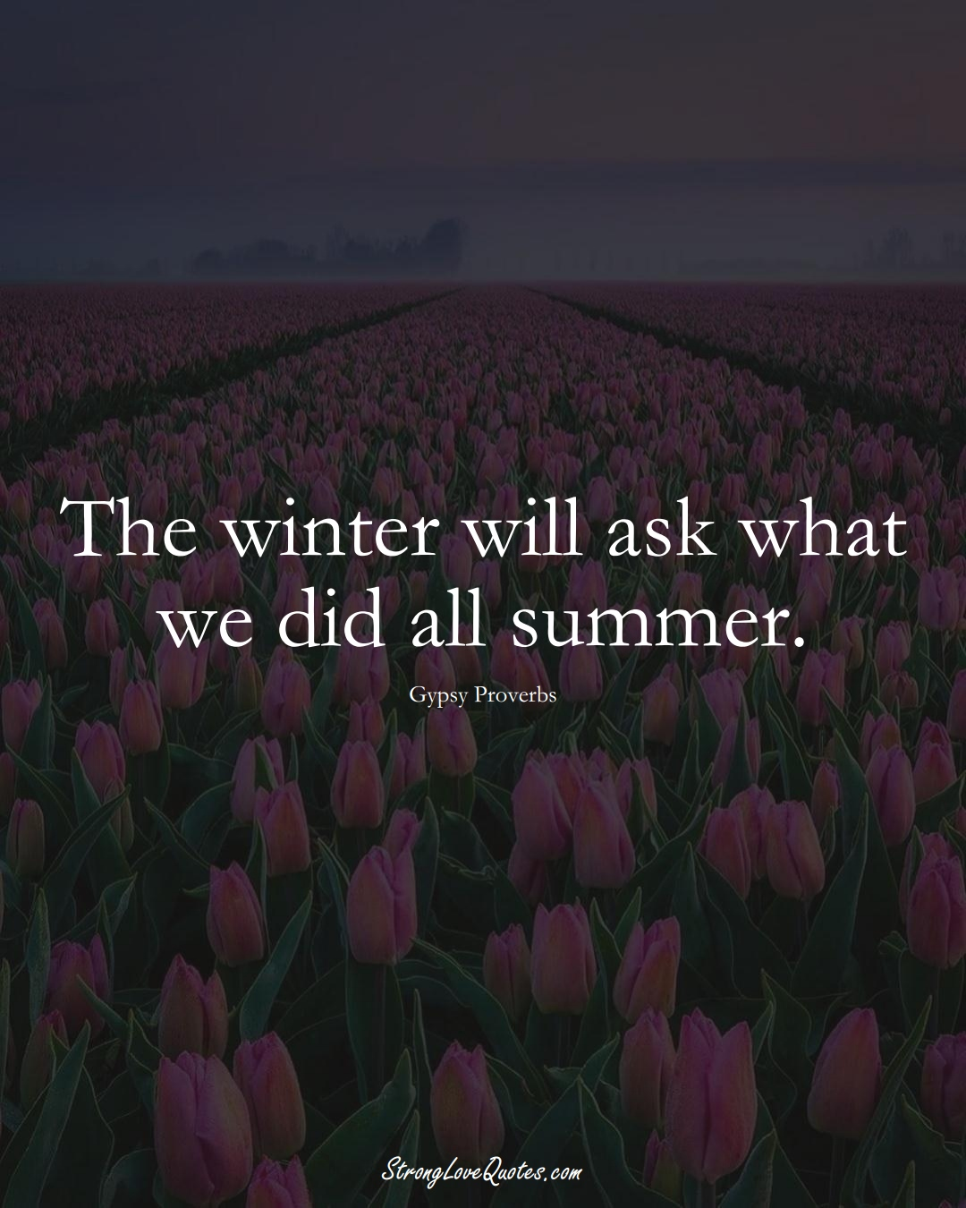 The winter will ask what we did all summer. (Gypsy Sayings);  #aVarietyofCulturesSayings