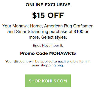 Kohls coupon $15 off $100 Mohawk Home, American Rug Craftsmen