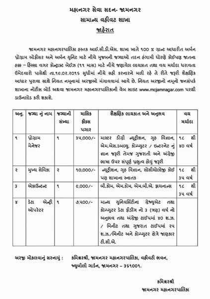 Jamnagar Municipal Corporation ICDS Branch Recruitment 2016 - InfoGuru24.com