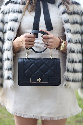 quilted celine replica black and white fur coat, white mini dress with black bow