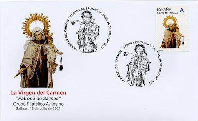 sobre, filatelia, sello personalizado, Salinas, Virgen del Carmen