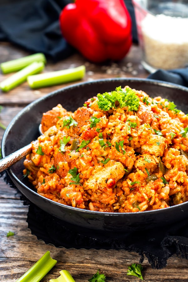 Sausage & Chicken Cajun Jambalaya has all of the flavors of authentic jambalaya. It comes together easily in one pot, is gluten-free and dairy-free for a simple and healthier Cajun dinner recipe