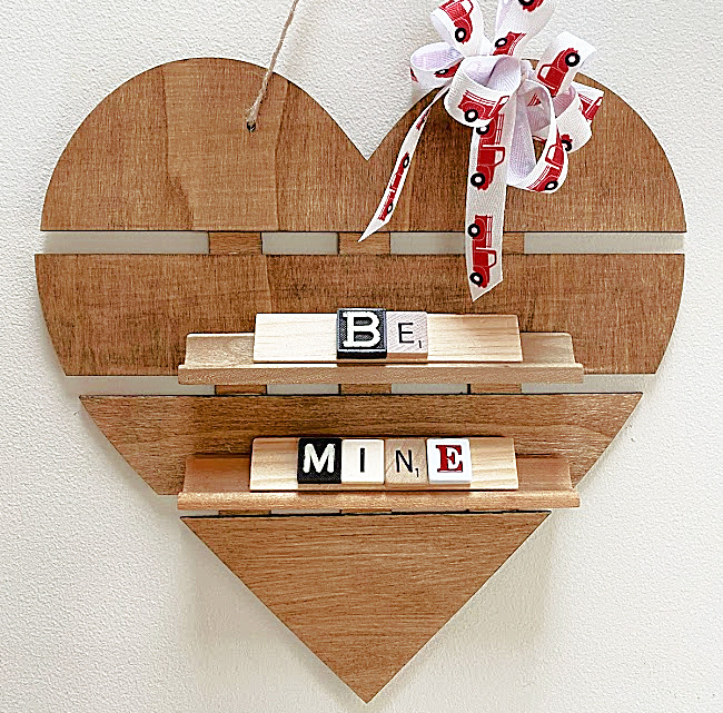 Heart shelf with BE MINE with Scrabble tiles and bow