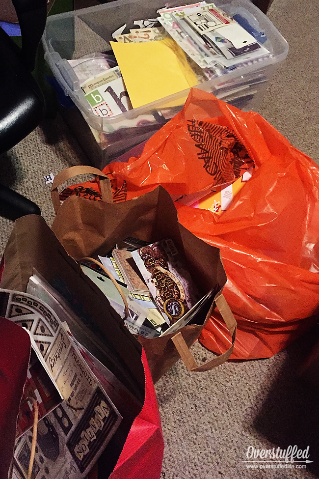 When decluttering, use the simple system of Keep, Donate, and Trash. #overstuffedlife