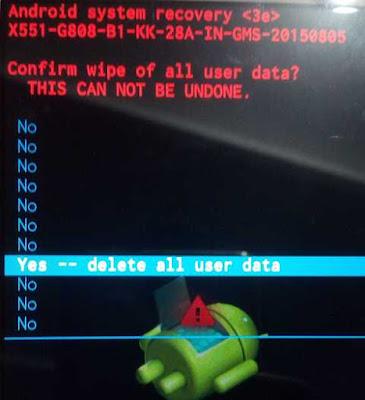 Konfirmasi Saat Akan Melakukan Wipe Data User atau Factory Reset Smartphone Android Infinix Hot Note