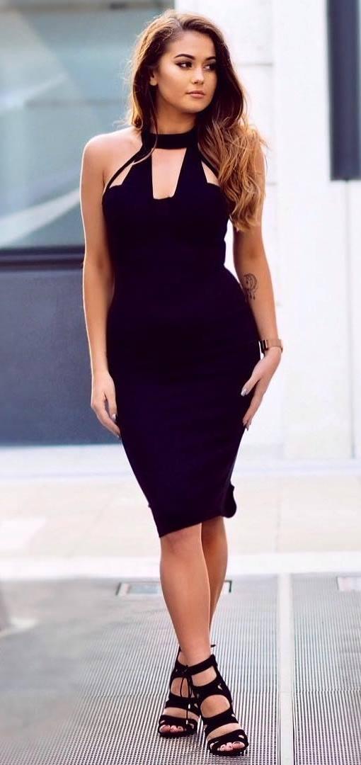 black on black: little dress + heels