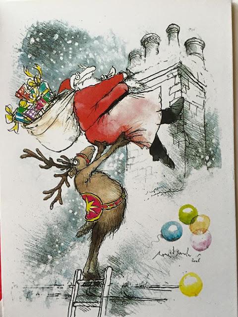 Ronald Searle Christmas Card illustration of a reindeer hoisting Santa up a chimney
