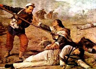 Ilustración de la Batalla del Alto de la Alianza en ataque a color