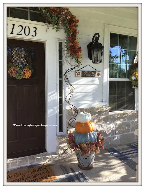 Fall- Porch-Decor-Stacked-Pumpkins-Hydrangeas-olive-bucket-From My Front Porch To Yours