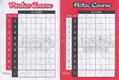 A scorecard from Blackbeard's Adventure Golf in Hunstanton