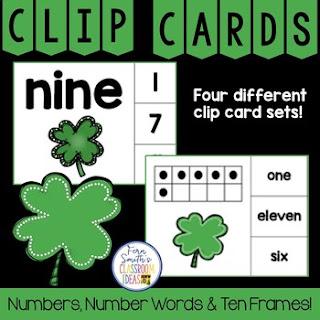 Number Clip Card Center for Numbers, Number Words & Ten Frames Shamrocks