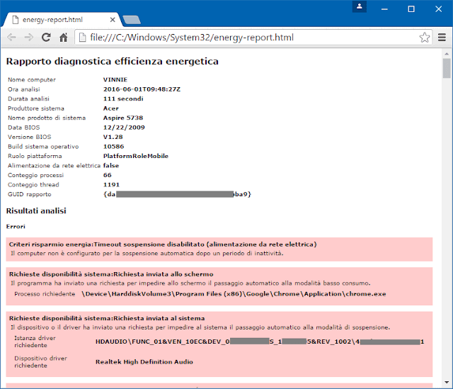 Rapporto diagnostica efficienza energetica computer Windows