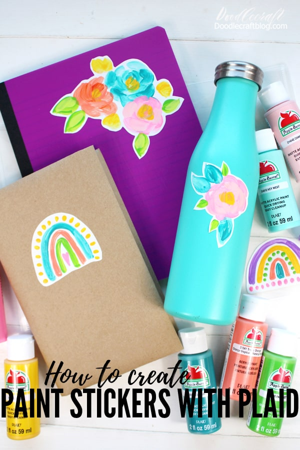 Make the perfect stickers using Plaid Crafts Apple Barrel Paint. These cute stickers can be used to decorate water bottles, school supplies or be given as gifts to a teacher or friend. Makes a great Summertime craft activity too.