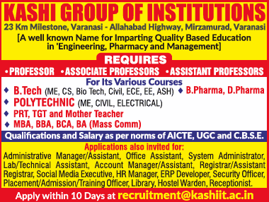 Kashi  Group Varanasi Biotech Faculty Jobs