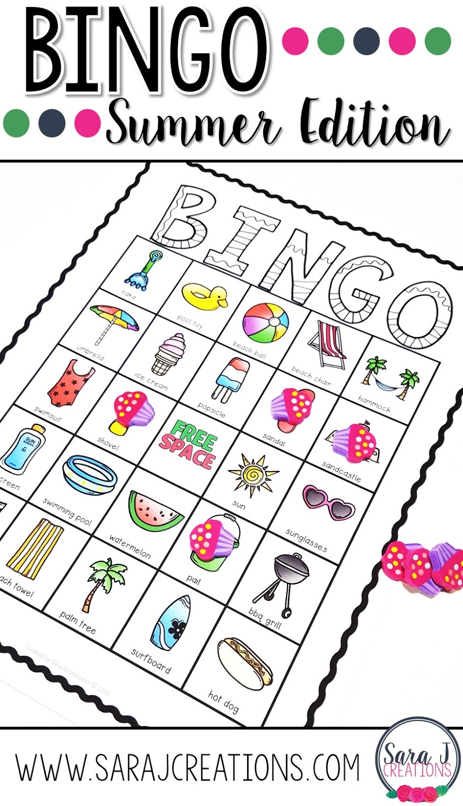 Need a little summer fun for kids?  How about summer bingo?  Perfect for the end of the school year or during the summer.  It includes 30 different boards in color and black and white.  Just print and play!