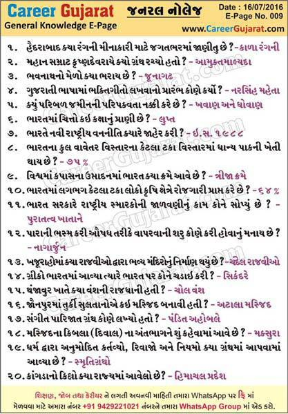 Career Gujarat General Knowledge Page - Dt. 16/07/2016