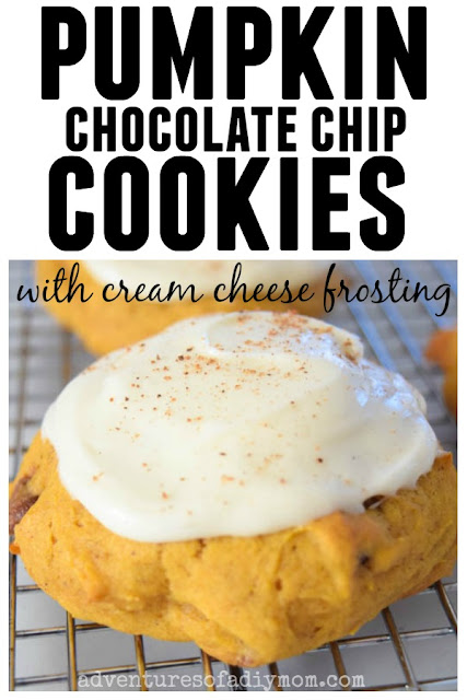pumpkin chocolate chip cookies with cream cheese frosting