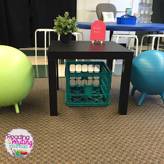 IKEA side table and Stability ball Chairs in Classroom